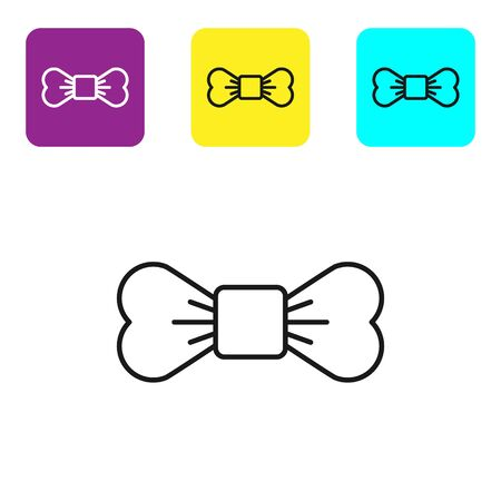 Black line Bow tie icon isolated on white background. Set icons colorful square buttons. Vector Illustration