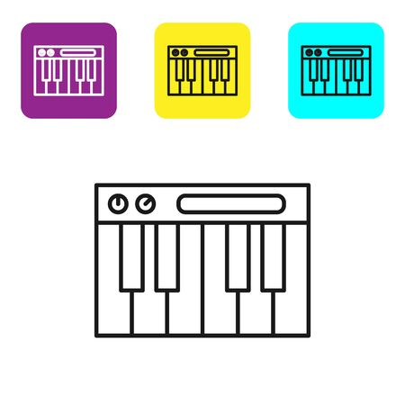 Black line Music synthesizer icon isolated on white background. Electronic piano. Set icons colorful square buttons. Vector Illustration