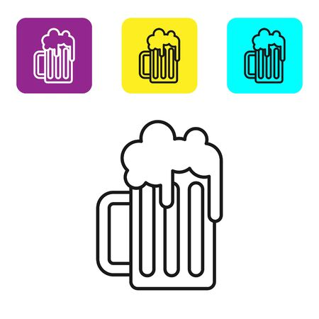 Black line Wooden beer mug icon isolated on white background. Set icons colorful square buttons. Vector Illustration