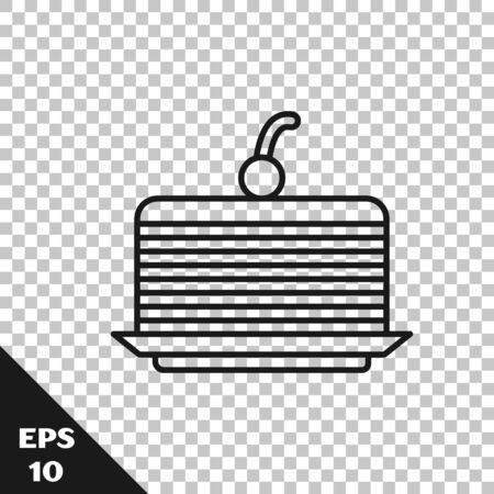 Black line Cake icon isolated on transparent background. Happy Birthday. Vector Illustration