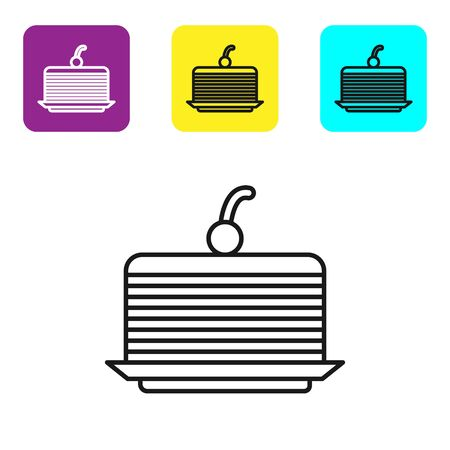 Black line Cake icon isolated on white background. Happy Birthday. Set icons colorful square buttons. Vector Illustration