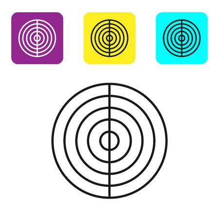 Black line Earth structure icon isolated on white background. Geophysics concept with earth core and section layers earth. Set icons colorful square buttons. Vector Illustration