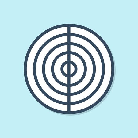 Blue line Earth structure icon isolated on blue background. Geophysics concept with earth core and section layers earth. Vector Illustration
