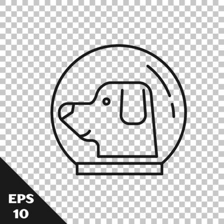 Black line Dog in astronaut helmet icon isolated on transparent background. Vector Illustration