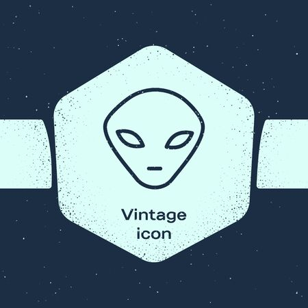 Grunge line Alien icon isolated on blue background. Extraterrestrial alien face or head symbol. Monochrome vintage drawing. Vector Illustration