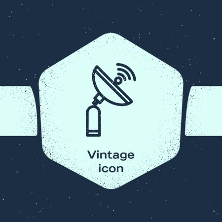 Grunge line Radar icon isolated on blue background. Search system. Satellite sign. Monochrome vintage drawing. Vector Illustration