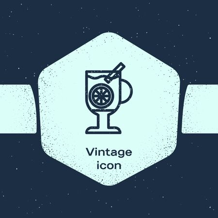 Grunge line Mulled wine with glass of drink and ingredients icon isolated on blue background. Cinnamon stick, clove, lemon slice. Monochrome vintage drawing. Vector Illustration 向量圖像