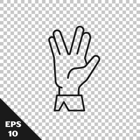 Black line Vulcan salute icon isolated on transparent background. Hand with vulcan greet. Spock symbol. Vector Illustration
