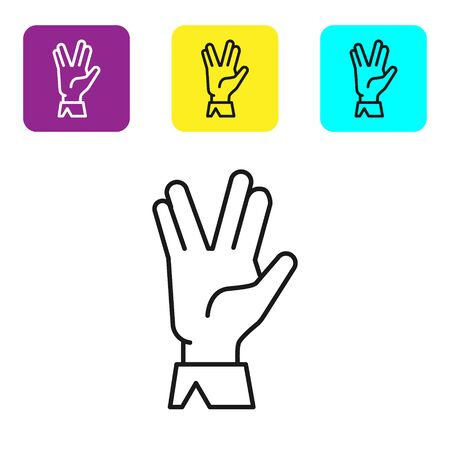 Black line Vulcan salute icon isolated on white background. Hand with vulcan greet. Spock symbol. Set icons colorful square buttons. Vector Illustration Vectores