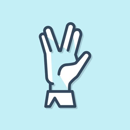 Blue line Vulcan salute icon isolated on blue background. Hand with vulcan greet. Spock symbol. Vector Illustration Иллюстрация