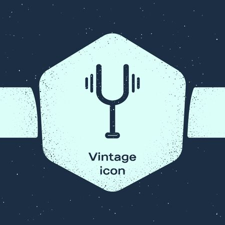 Grunge line Musical tuning fork for tuning musical instruments icon isolated on blue background. Monochrome vintage drawing. Vector Illustration