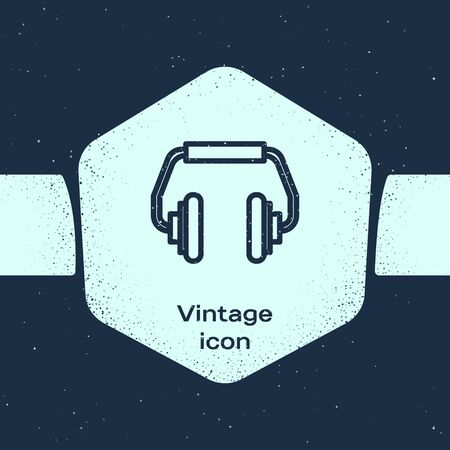 Grunge line Headphones icon isolated on blue background. Earphones. Concept for listening to music, service, communication and operator. Monochrome vintage drawing. Vector Illustration