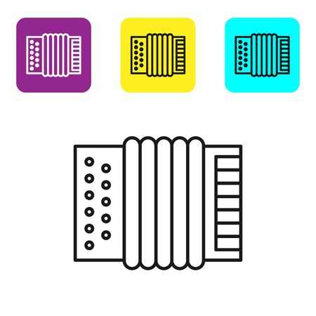 Black line Musical instrument accordion icon isolated on white background. Classical bayan, harmonic. Set icons colorful square buttons. Vector Illustration