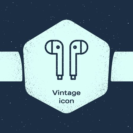 Grunge line Air headphones icon icon isolated on blue background. Holder wireless in case earphones garniture electronic gadget. Monochrome vintage drawing. Vector Illustration