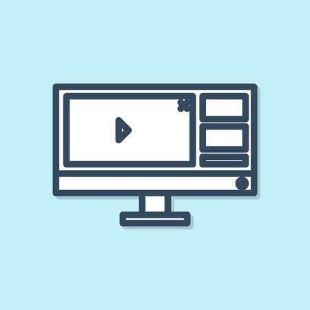 Blue line Video recorder or editor software on computer monitor icon isolated on blue background. Vector Illustration