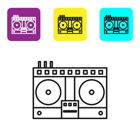 Black line DJ remote for playing and mixing music icon isolated on white background. DJ mixer complete with vinyl player and remote control. Set icons colorful square buttons. Vector Illustration