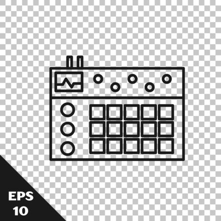 Icône de boîte à rythmes ligne noire isolé sur fond transparent. Matériel musical. Illustration vectorielle Vecteurs