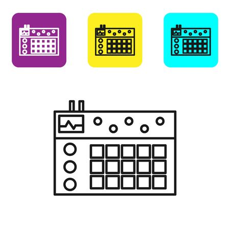 Black line Drum machine icon isolated on white background. Musical equipment. Set icons colorful square buttons. Vector Illustration