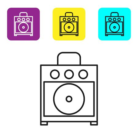 Black line Guitar amplifier icon isolated on white background. Musical instrument. Set icons colorful square buttons. Vector Illustration