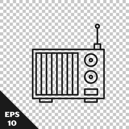 Black line Radio with antenna icon isolated on transparent background. Vector Illustration