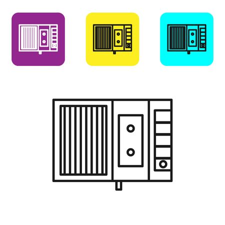 Black line Music tape player icon isolated on white background. Portable music device. Set icons colorful square buttons. Vector Illustration