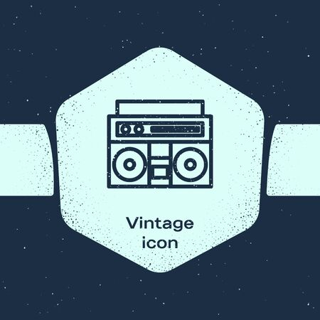 Grunge line Home stereo with two speakers icon isolated on blue background. Music system. Monochrome vintage drawing. Vector Illustration