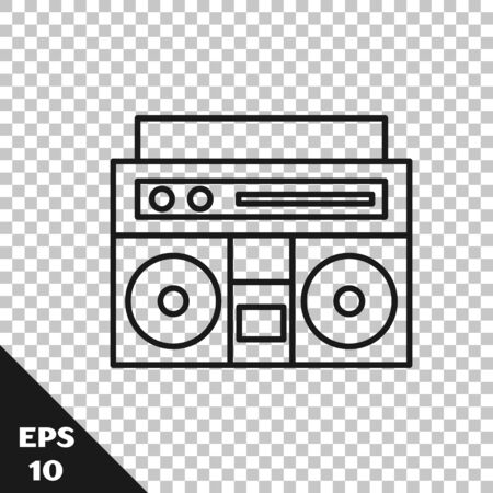 Black line Home stereo with two speakers icon isolated on transparent background. Music system. Vector Illustration Иллюстрация