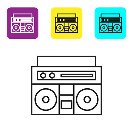 Black line Home stereo with two speakers icon isolated on white background. Music system. Set icons colorful square buttons. Vector Illustration Иллюстрация