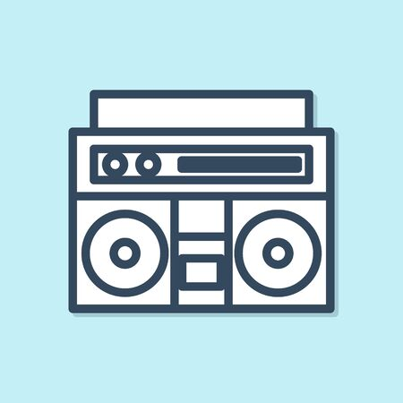 Blue line Home stereo with two speakers icon isolated on blue background. Music system. Vector Illustration