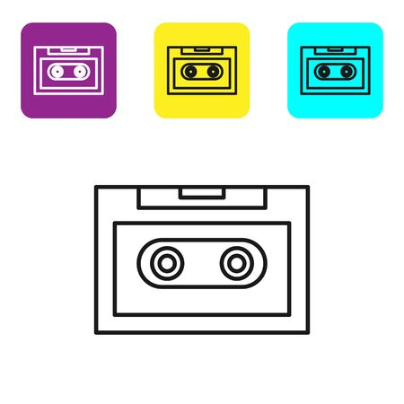 Black line Retro audio cassette tape icon isolated on white background. Set icons colorful square buttons. Vector Illustration