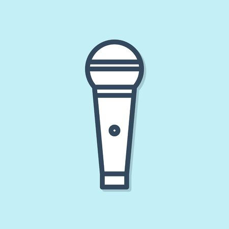 Blue line Microphone icon isolated on blue background. On air radio mic microphone. Speaker sign. Vector Illustration