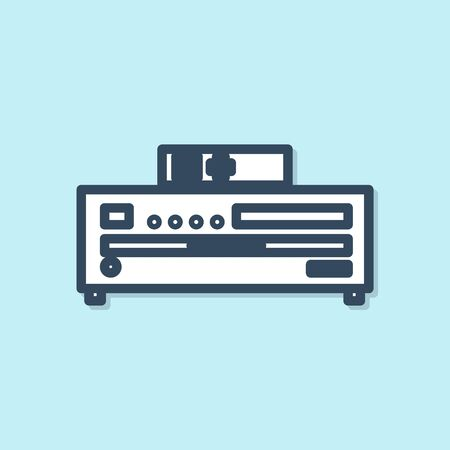 Blue line Music CD player icon isolated on blue background. Portable music device. Vector Illustration