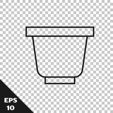 Black line Flower pot icon isolated on transparent background. Vector Illustration Stok Fotoğraf - 136415640
