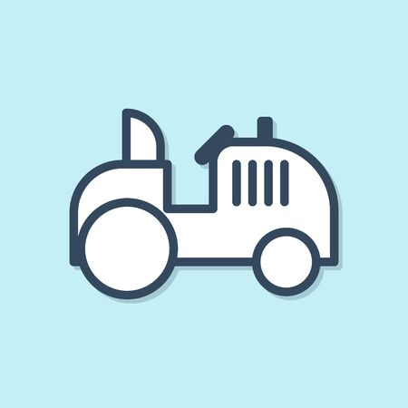 Blue line Tractor icon isolated on blue background. Vector Illustration
