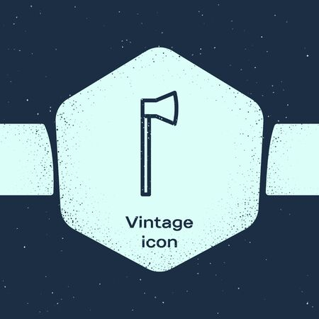 Grunge line Wooden axe icon isolated on blue background. Lumberjack axe. Monochrome vintage drawing. Vector Illustration