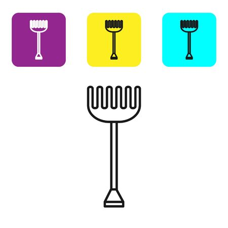 Black line Garden rake icon isolated on white background. Tool for horticulture, agriculture, farming. Ground cultivator. Housekeeping equipment. Set icons colorful square buttons. Vector Illustration