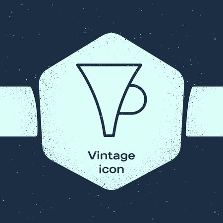 Grunge line Funnel or filter icon isolated on blue background. Monochrome vintage drawing. Vector Illustration