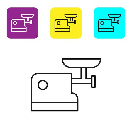 Black line Kitchen meat grinder icon isolated on white background. Set icons colorful square buttons. Vector Illustration