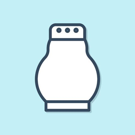 Blue line Salt and pepper icon isolated on blue background. Cooking spices. Vector Illustration