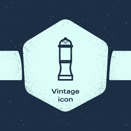 Grunge line Pepper icon isolated on blue background. Cooking spices. Monochrome vintage drawing. Vector Illustration