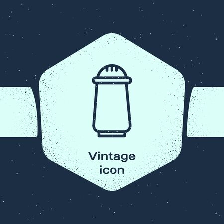 Grunge line Salt and pepper icon isolated on blue background. Cooking spices. Monochrome vintage drawing. Vector Illustration