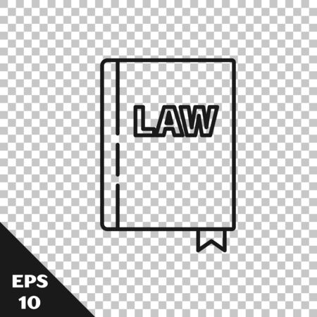Black line Law book icon isolated on transparent background. Legal judge book. Judgment concept. Vector Illustration
