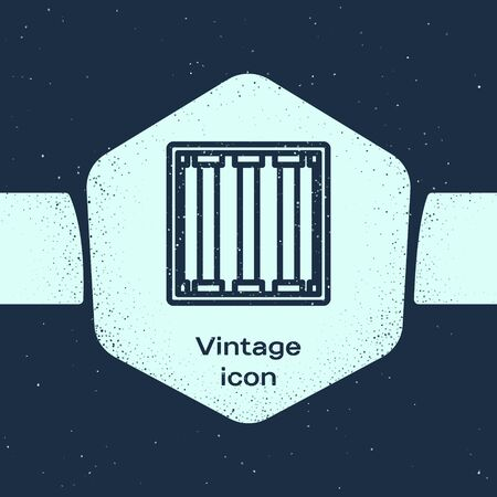 Grunge line Prison window icon isolated on blue background. Monochrome vintage drawing. Vector Illustration