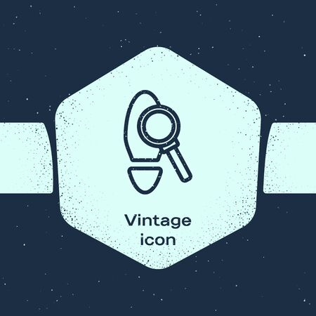 Grunge line Magnifying glass with footsteps icon isolated on blue background. Detective is investigating. To follow in the footsteps. Monochrome vintage drawing. Vector Illustration Иллюстрация