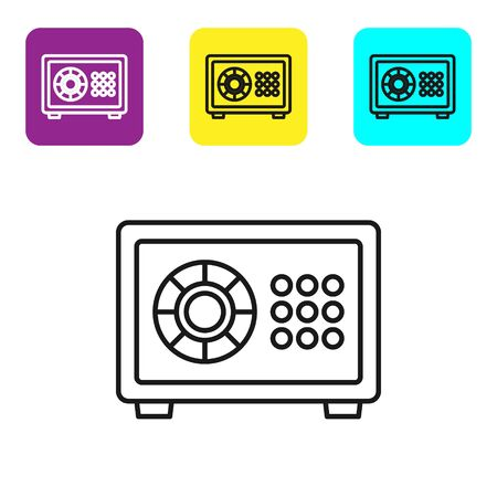 Black line Safe icon isolated on white background. The door safe a bank vault with a combination lock. Reliable Data Protection. Set icons colorful square buttons. Vector Illustration