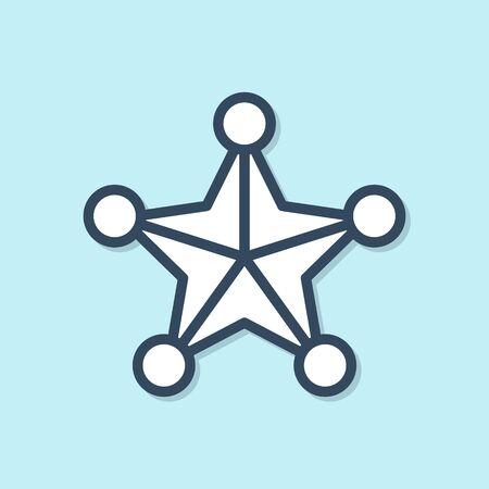Blue line Hexagram sheriff icon isolated on blue background. Police badge icon. Vector Illustration