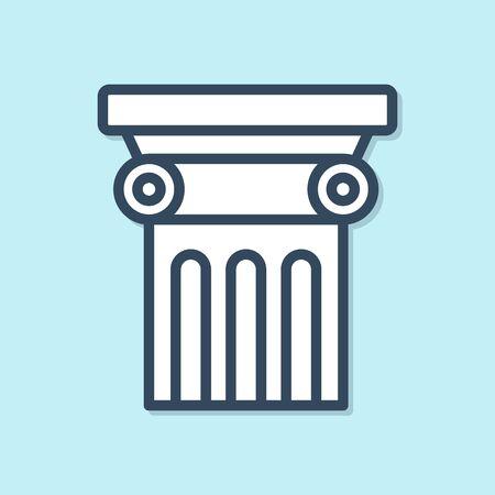 Blue line Law pillar icon isolated on blue background. Vector Illustration Archivio Fotografico - 136948252