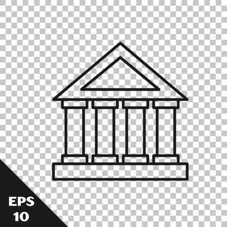 Black line Courthouse building icon isolated on transparent background. Building bank or museum. Vector Illustration Archivio Fotografico - 136426621