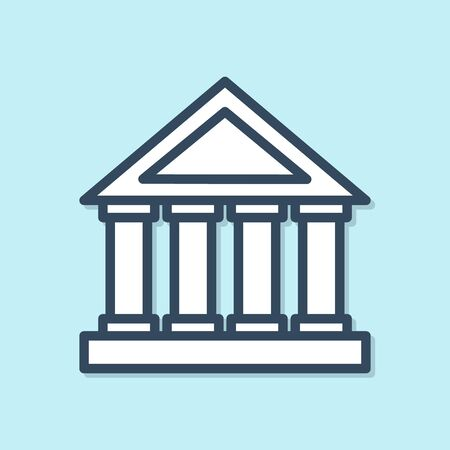 Blue line Courthouse building icon isolated on blue background. Building bank or museum. Vector Illustration Archivio Fotografico - 136423501