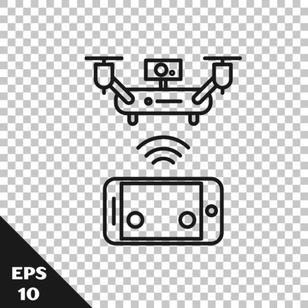 Black line Remote aerial drone with a camera taking photography or video recording icon isolated on transparent background. Vector Illustration